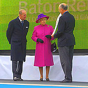 The Queen is presented with the Baton at the launch of the Queen's Baton Relay.