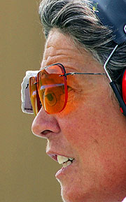 Canadian Shooting veteran Susan Nattrass takes aim during the Athens Olympics.