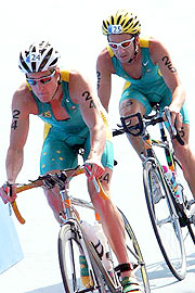 Australian Triathletes Greg Bennett (left) and Peter Robertson at the 2004 Athens Olympics.