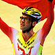 Mark Cavendish of the Isle of Man celebrates victory in the Men's Scratch Race Final