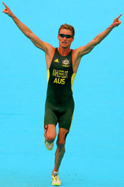 Australia's Bradley Kahlefeldt approaching the finish line to take the Men's Triathlon crown.