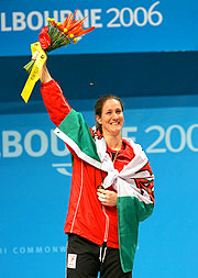 Michaela Breeze of Wales enjoys her moment on the podium.