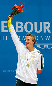 Matthew Cowdrey accepting his gold medal.