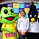 Jodie Henry with Karak and Freddo Frog at Luna Park