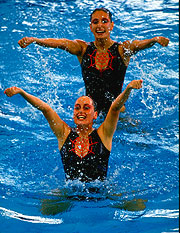 Synchronised Swimmer Irena Olevsky and partner in action in the pool