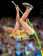 Kym Howe of Australia is eying gold in the Women's Pole Vault.