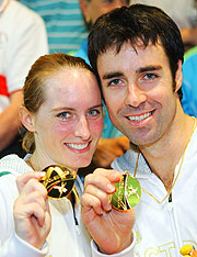 Natalie Grinham and Joseph Kneipp with their Mixed Doubles gold medals.