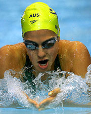 Stephanie Rice beat teammates Brooke Hanson and Lara Carroll to claim the 200m Individual Medley prize.