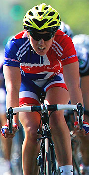 Nicole Cooke competing in the Women's World Road Race Championship in Madrid, 2005.