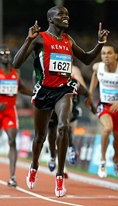 Alex Kipchirchir Rono crossed the line to win the third Track gold medal for Kenya.