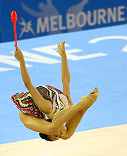 Malaysia's Durratun Nashihn Rosli performs during the rhythmic gymnastics at the Rod Laver Arena.