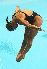 Canada's Blythe Hartley dives for her second gold.