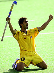 Keevan Raj Kali of Malaysia celebrates victory after defeating South Africa.