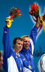 Scottish duo, Euan Dale and David Carry, celebrates their silver and gold wins.