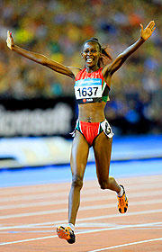 Janeth Jepkosgei of Kenya takes out the Women's 800m.