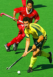 Australia's Nathan Eglington in the semi final match against Malaysia.