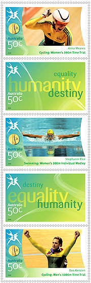 New Australia Post stamps showing Australian Gold Medallists Anna Meares, Stephanie Rice and Ben Kersten.