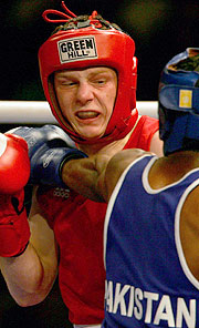 Australia's Luke Jackson fought for bronze in the 57kg Featherweight division.