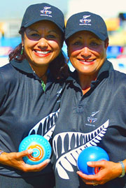 Jan and Marina Khan of New Zealand bowled to bronze in the Women's Pairs.