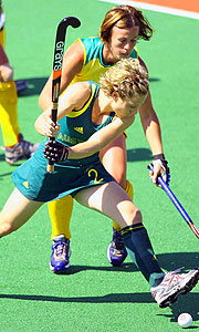 Suzanne Faulkner of Australia in action during the match against South Africa.