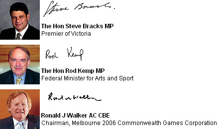Pictures and signatures of Steve Bracks, Rod Kemp and Ron Walker.