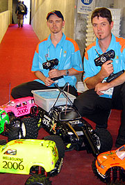 Davin Jones and Glenn Hamilton with their powerful remote control cars.