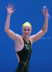 Australian Swimmer Jessicah Schipper celebrates after winning two more gold medals