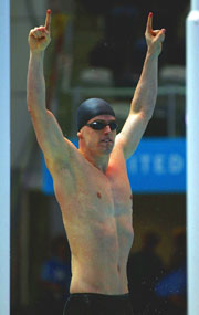 Matthew Clay of England celebrates winning the Men's 50m Backstroke final.