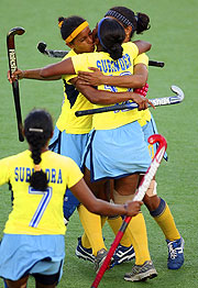 Surinder Kaur of India celebrates scoring the match winning goal.